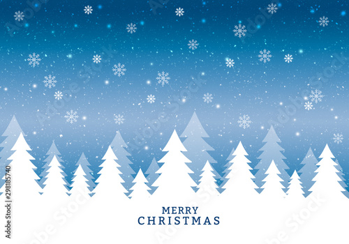 Aluminium Prints Personal Merry Christmas blue winter card with snowflakes.