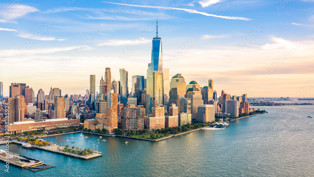 Fototapety, obrazy: Aerial view with Lower Manhattan skyline at sunset viewed from above Hudson River