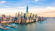 Aerial view with Lower Manhattan skyline at sunset viewed from above Hudson River