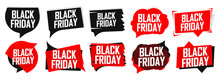 Set Black Friday Sale Speech Bubble Banners Design Template, Collection Discount Tags, App Icons, Vector Illustration