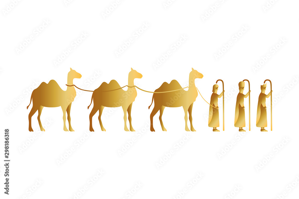 Fototapety, obrazy: kings magicians with camels golden characters