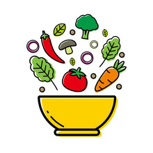 Bowl Of Vegetable Vector Illustration For Kitchen Or Cooking Concept. Vegetable Clip Art