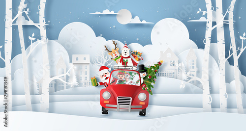 Montage in der Fensternische Cartoon cars Origami paper art style, Christmas red car with Santa Claus and friend in the village, Merry Christmas and Happy New Year