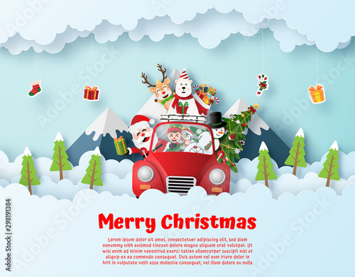 Photo sur Toile Cartoon voitures Origami paper art postcard of Santa Claus and friend driving Christmas red car on the sky, Merry Christmas and Happy New Year