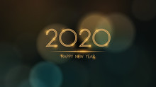Glowing Happy New Year 2020 With Abstract Bokeh And Lens Flare Pattern In Vintage Color Style Background