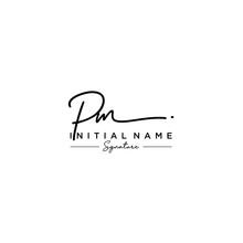 Letter PM Signature Logo Template Vector