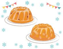Christmas Bundt Cakes Isolated On White. Vector Illustration.
