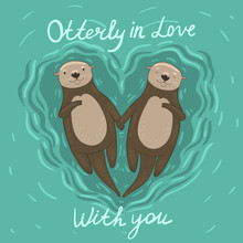 Heart Shaped Sea Otters In Love. Vector Graphics.