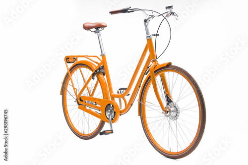 Fond de hotte en verre imprimé Velo Isolated Orange Urban Woman City Bike in Perspective View