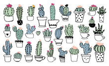 Different Types Of Cacti In Pots. Cute Drawings Of Blooming Succulents, Doodle Illustration. Flat Vector Illustration Isolated On White Background.