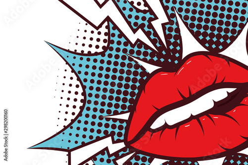 sexy woman mouth with splash expression pop art style