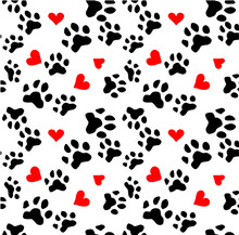 Dog Paw Cat Paw Heart Love Puppy Feet Print Kitten Valentine Vector Seamless Wallpaper Background.Vector Illustration.