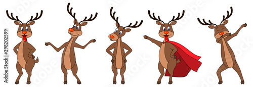 Foto Set Cartoons Deers in Different Poses, Reindeers Characters