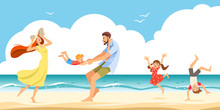 Good Relations In Family. The Cheerful Family Taking A Rest On A Sandy Shore In The Seaside. Vector Illustration.