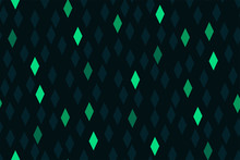 Seamless Geometric Pattern With Rhombus. Green Diamonds On A Dark Background With A Glow Effect. Futuristic Beautiful Template To Create Fabrics, Wallpapers, Interior Design...Modernist Style. Vector.