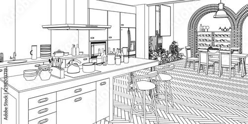 Valokuvatapetti Kitchen inside aLoft (sketch) - 3d illustration
