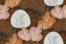 Seamless Vector Pattern With Different Kinds Of Trees On A Dark Background. Hand-drawn Forest With Imitation Beading. Floral Print, Botanical Wallpaper, Fashion Template In Orange, Brown Color. Vector