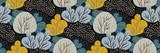Abstrakcjonistyczny jesień las na ciemnym tle. Wektor wzór z drzew liściastych w stylu wyciągnąć rękę. Kolorowy kreatywny nadruk, naturalna ramka, tapeta, tkanina. Oryginalny nowoczesny design. - 298205707