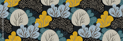 Abstract autumn forest on dark background. Vector seamless pattern with deciduous trees in hand drawn style. Colorful creative print, natural border, Wallpaper, fabric. Original modern vintage design.