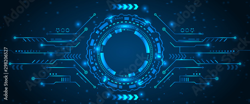 Abstract Futuristic Board with HUD, Light Technology Business Background