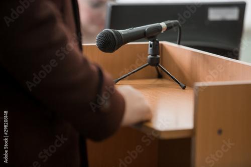 Fototapeta  back of attastor talking to magistrate in court