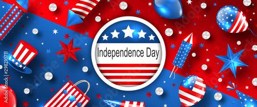 Fotografie, Obraz American Background for USA Independence Day Celebration