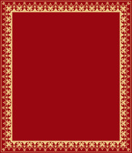 Decorative Frame Elegant Vector Element For Design In Eastern Style, Place For Text. Floral Golden And Red Border. Lace Illustration For Invitations And Greeting Cards.