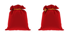 Red Bag From Santa Claus On Wh...
