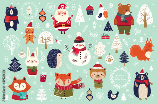 Obraz na plátně Christmas decorative banner with funny Santa Claus, snowman and many others