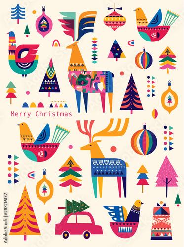Fototapeta Świąteczny wzór w skandynawskim stylu ludowym z jeleniem, choinką i ptakiem