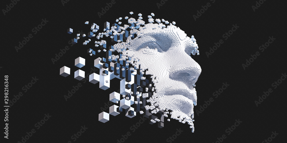 Fototapety, obrazy: Abstract digital human face.  Artificial intelligence concept of big data or cyber security. 3D illustration