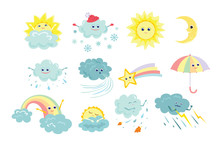 Funny Weather Icons Set Isolat...
