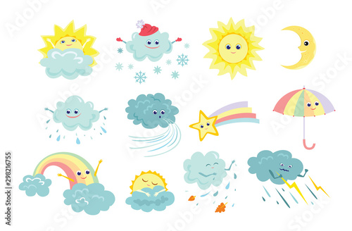 Funny weather icons set isolated on white background. Vector illustration of sun, rain, storm, snow, wind, moon, star with rainbow tail, rainbow, umbrella in cartoon simple flat style. Cute characters