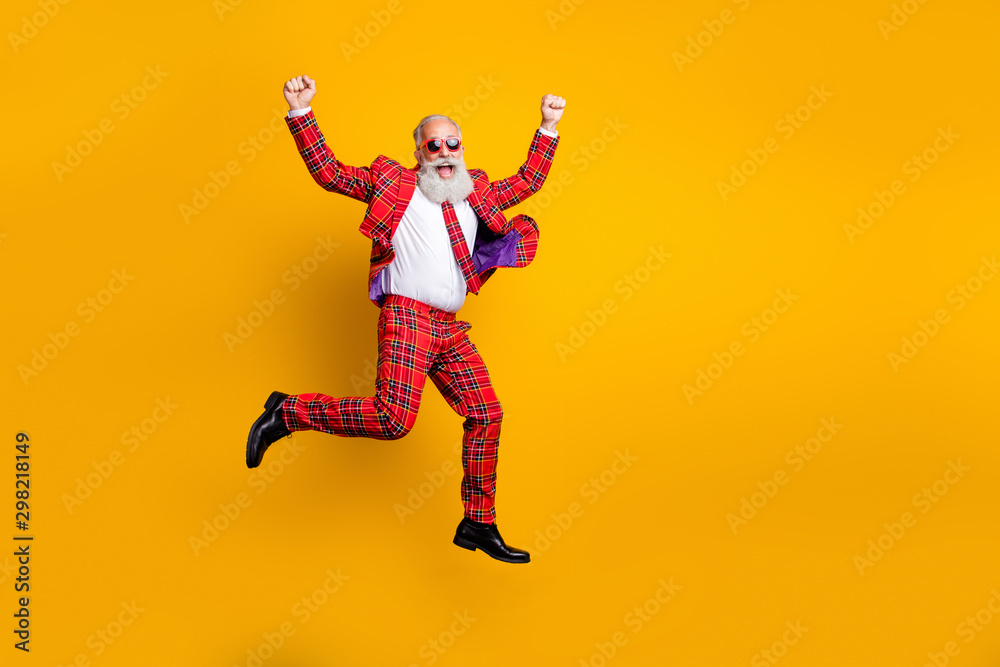 Fototapety, obrazy: Full length body size view of nice handsome attractive cheerful cheery funky comic gray-haired man jumping having fun rejoice isolated over bright vivid shine vibrant yellow color background