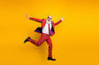 canvas print picture - Full body photo of funny hipster grandpa white beard guy jumping high exciting trip wear plaid red blazer tie trousers outfit isolated yellow bright color background