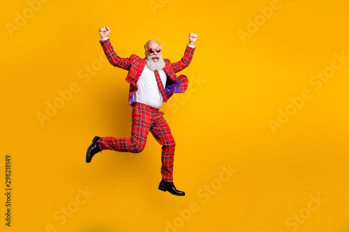 Full length body size view of nice handsome attractive cheerful cheery funky com Fototapet