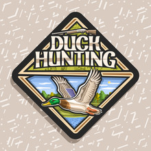 Vector Logo For Duck Hunting, Decorative Rhomb Tag With Illustration Of Flying Male Duck On Trees Background And Old Rifle, Trendy Signage For Hunt Club With Original Lettering For Words Duck Hunting.