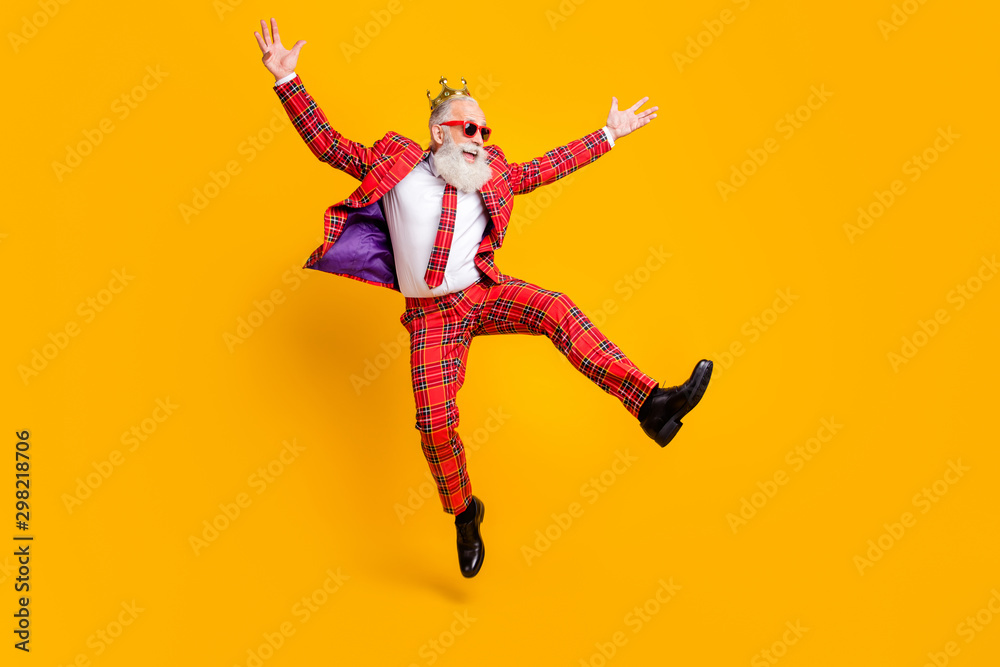 Fototapety, obrazy: Full length body size view of his he nice handsome attractive cheerful cheery carefree gray-haired man jumping having fun rejoice isolated over bright vivid shine vibrant yellow color background