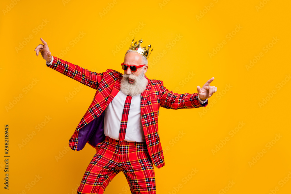 Fototapety, obrazy: Photo of cool look grandpa white beard vip guy dancing strange youth moves little drunk wear crown sun specs plaid red blazer tie pants outfit isolated yellow color background