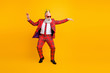 canvas print picture - Full length photo of modern look grandpa white beard vip guy dancing strange youth moves little drunk wear crown sun specs plaid red costume isolated yellow color background