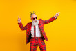 canvas print picture - Photo of cool trendy look grandpa white beard dancing hip-hop strange moves wear crown sun specs plaid red blazer tie pants outfit isolated yellow color background