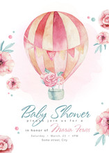 Baby Shower Kid Balloon Watercolor Girl Design Cartoon Elements. Set Of Baby Pink Birthday Balloon Toy Dress Illustration. Newborn Party Set Invitation