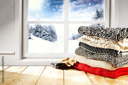 Spoed Fotobehang Wanddecoratie met eigen foto Table background of free space and winter window