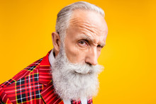 I Think You Are Liar. Closeup Photo Of Cool Grandpa Guy Stylish Long Beard Have Doubts Looking Suspicious Wear Tartan Blazer Outfit Isolated Yellow Color Background
