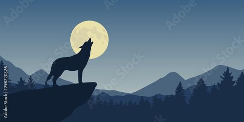 wolf howls at full moon blue nature landscape vector illustration EPS10 Fototapeta