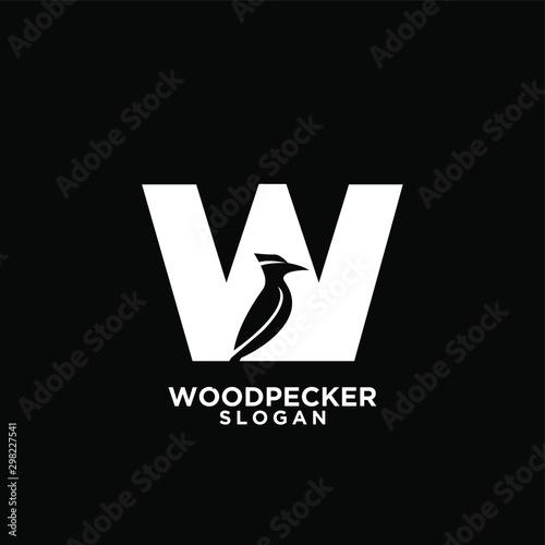 Photo  woodpecker bird black silhouette logo icon design template vector
