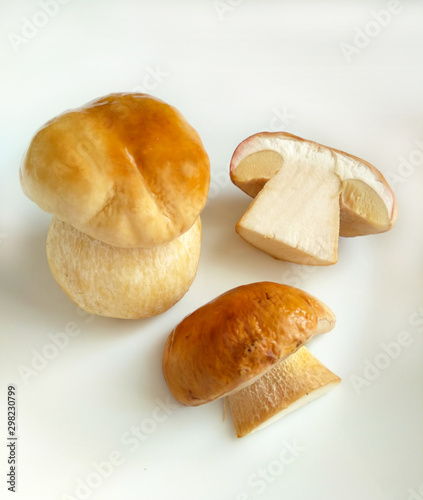 Boletus edulis mushrooms (king bolete, Porcino, cep) isolated on white plate, close up, selective focus Wallpaper Mural