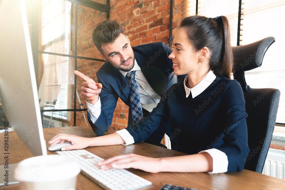 Fototapeta Team business couple co-working in office