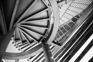 Modern bridge architecture. Black and white abstract picture