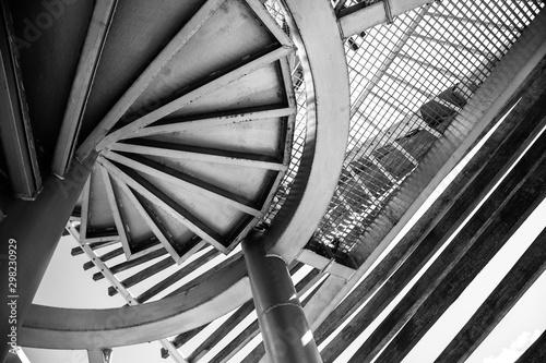 Modern bridge architecture. Black and white abstract picture Billede på lærred